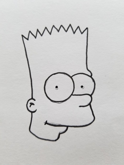 520x693 Best Guide To Draw Bootleg Bart Simpson Quick And Easy! Feltmagnet