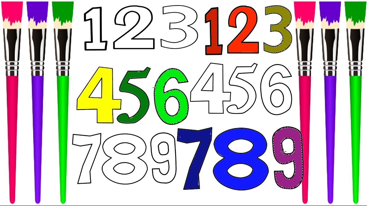 1280x720 learn numbers to learn colors for kids,number coloring