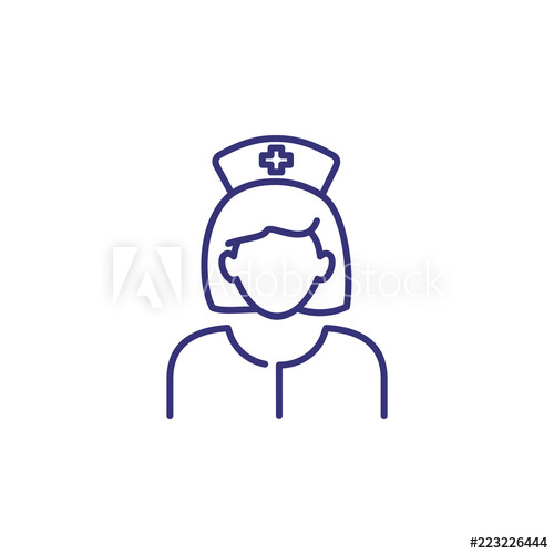 500x500 Nurse Line Icon Woman In Medical Uniform And Cap Occupation