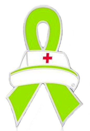 343x500 Sandhoff Disease Lapel Pin Lime Green Awareness Ribbon Nurse Cap