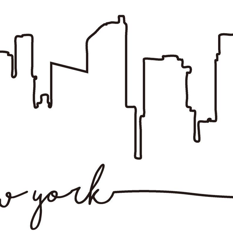 794x818 nyc skyline print new york city skyline outline poster city etsy