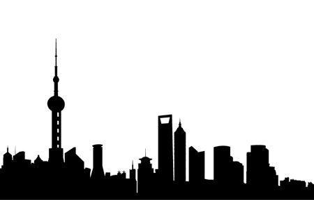450x286 Shanghai Skyline Tattoos Shangh Silhouette