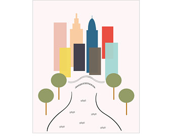 340x270 Central Park Drawing Etsy