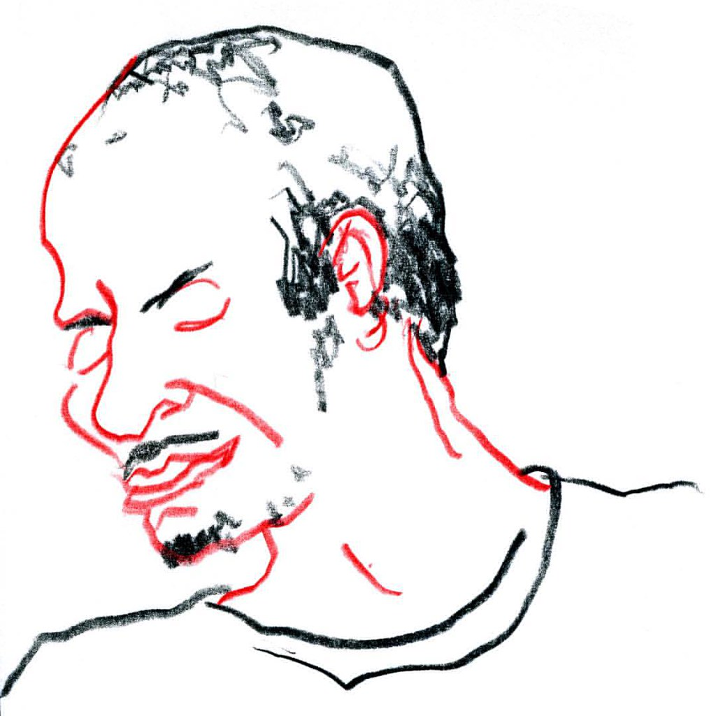 1024x1024 Lefthand Drawing Of A Man, Singing For Himself