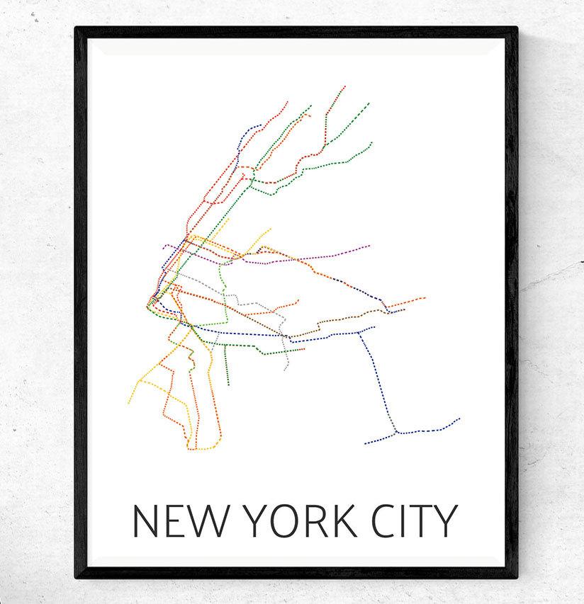824x853 Subway Map Poster Art Nycmta Dashed Etsy