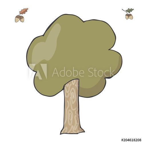 500x500 Oak Tree Illustration Vector Clip Art Green Color Wood Forest
