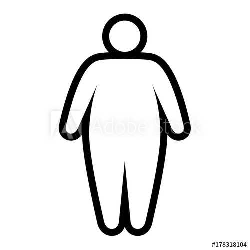 500x500 fat obese person facing obesity epidemic line art vector icon