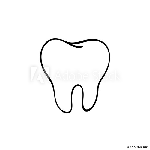 500x500 Tooth Logo Hand Drawn Black Lines Sketch Molar Doodle Drawing