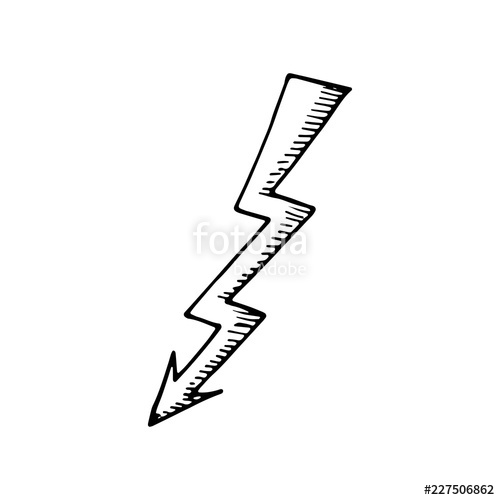 500x500 Arrow Lightning Drawing Icon Sketch Isolated Object Stock Image