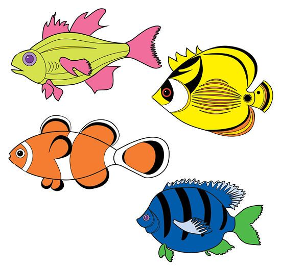 550x527 draw tropical fishes cartoon drawings tropical
