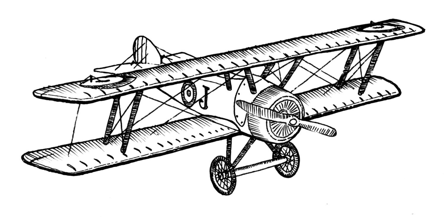 1500x734 Biplane Style Vintage Airplane Ink Drawing Clipart Ready For Etsy