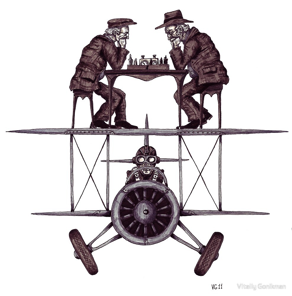 987x1000 Chess Game On The Vintage Airplane Surreal Black And White Drawing