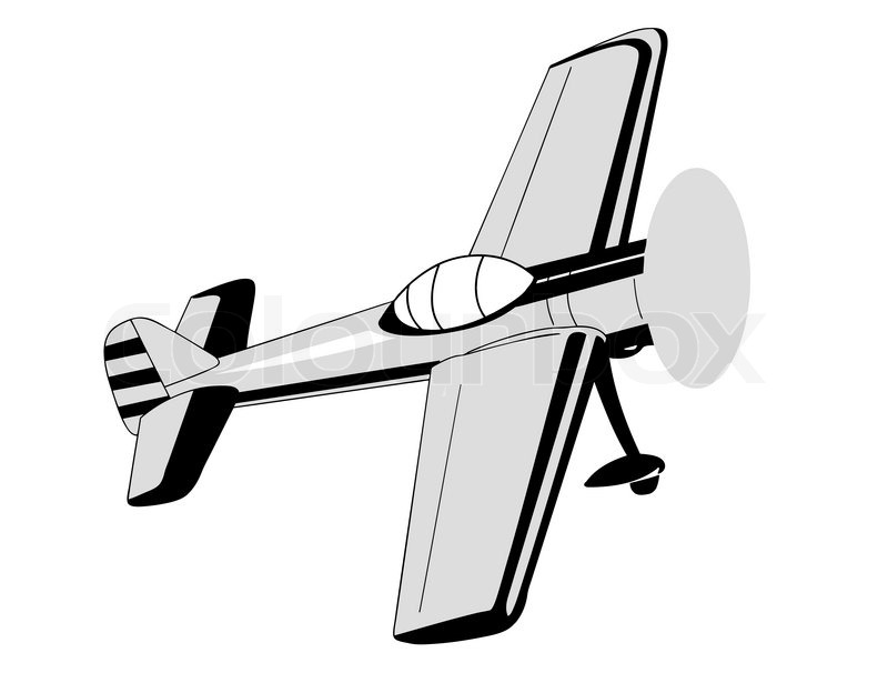 800x615 Plane Drawing On White Background, Stock Vector Colourbox