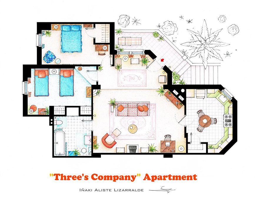 880x685 Artist Draws Detailed Floor Plans Of Famous Tv Shows Bored Panda