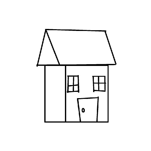 600x600 House Drawing Free Download