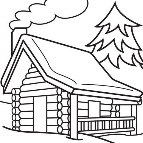 480x480 Log Cabin Woods Sketch Templates Line Drawingstemplates Log