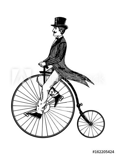 375x500 Man On Retro Vintage Old Bicycle Engraving Vector