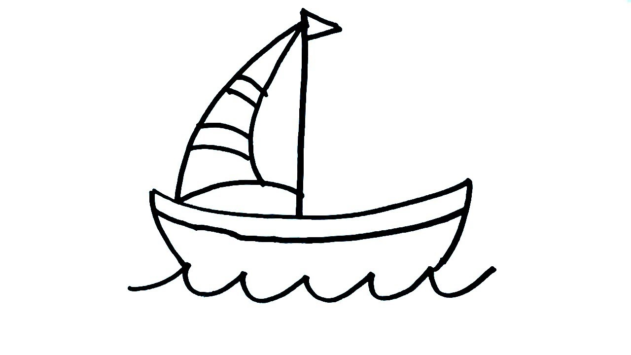 1280x720 How To Draw Boat Drawing For Kids Easy Boat Art Step