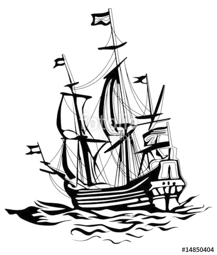 424x500 Old Sailing Boat Stock Image And Royalty Free Vector