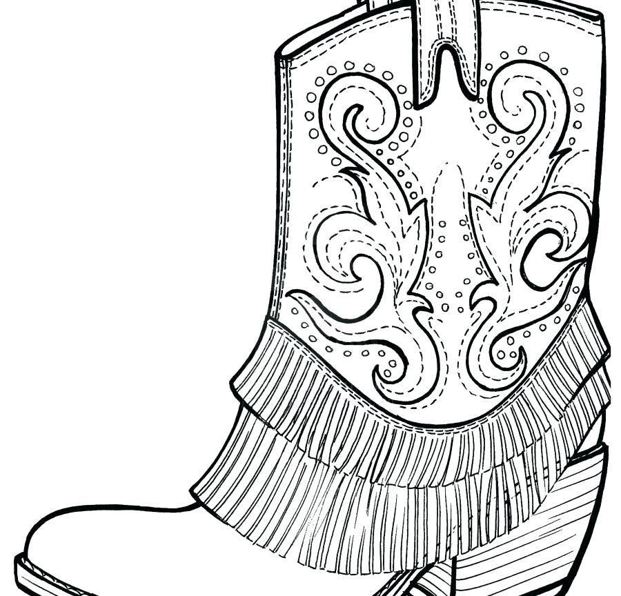 900x864 Cowboy Boots Coloring