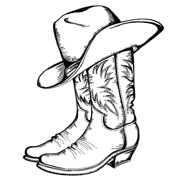 600x642 Cowboy Boots Coloring Sheets Pages Boot Book