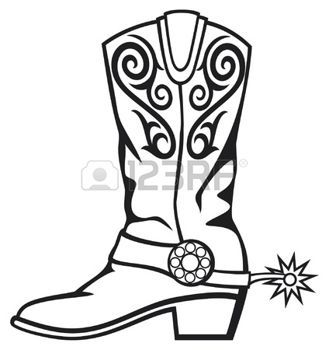 329x350 Old West Cowboy Boot Country Western Cowboy Boots Drawing