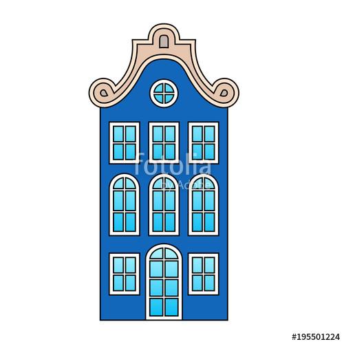 500x500 European House, Old Vintage Dark Blue Building, Beige Roof