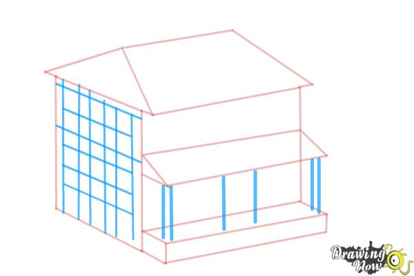 600x400 How To Draw A House, Two Story House