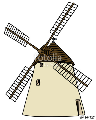 400x500 Old Stone Windmill Hand Drawing, Not A Real Building Stock