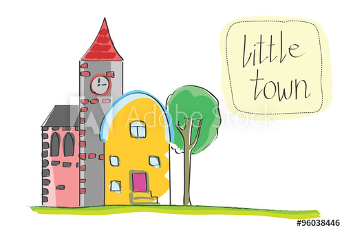 500x334 Vector Illustration Of Old Little Town Cartoon Historic Buildings