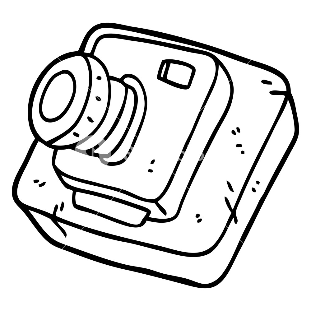 1000x1000 Black And White Cartoon Old Camera Royalty Free Stock Image