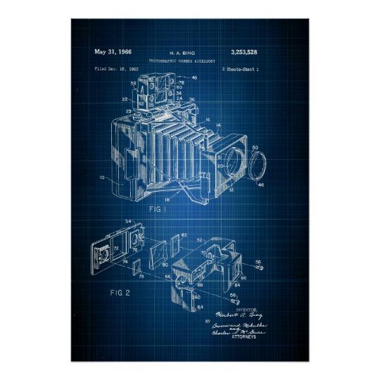 540x540 Blueprint For Antique Camera, Vintage Patent Art Poster