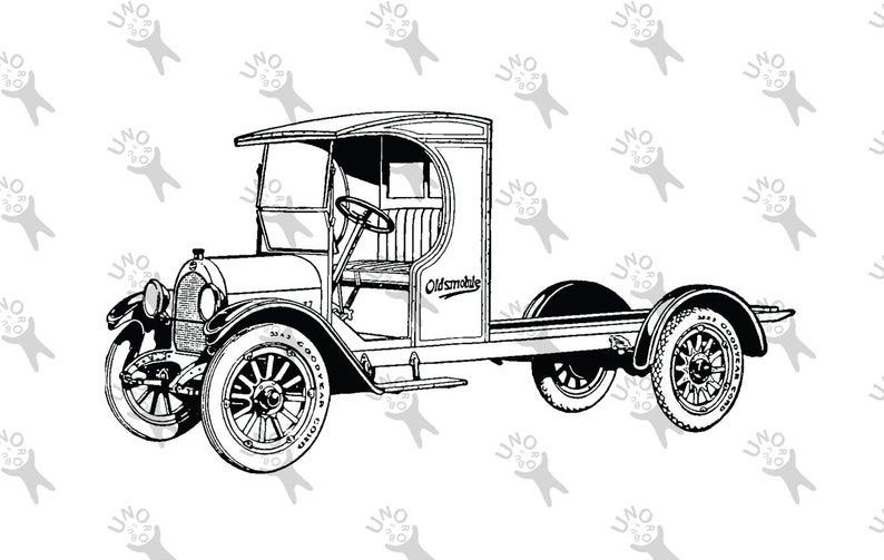 794x503 Vintage Truck Old Car Oldsmobile Drawing Digital Printable Etsy