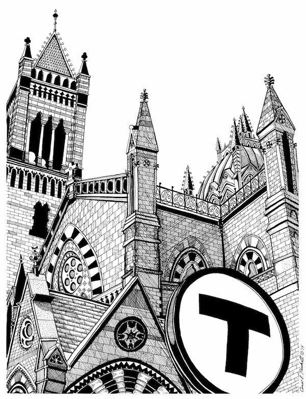 600x782 Boston's Old South Church Drawing Ebay