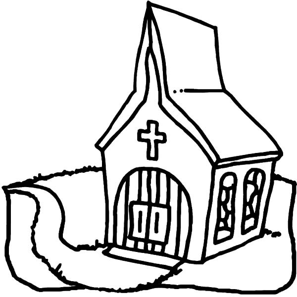 600x600 Church Coloring Pages Church Building Drawing Free Coloring Pages