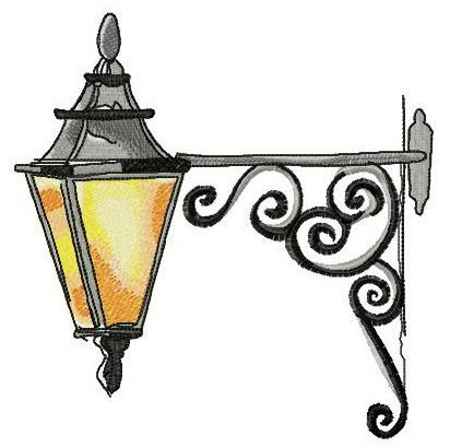 412x410 Old Lantern Embroidery Design Crafts Embroidery