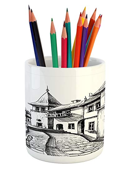 421x550 Ambesonne Cityscape Pencil Pen Holder, Old Peaceful