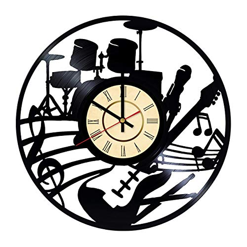500x500 Rock Band Vinyl Clock Gift For Electric Guitar Fans
