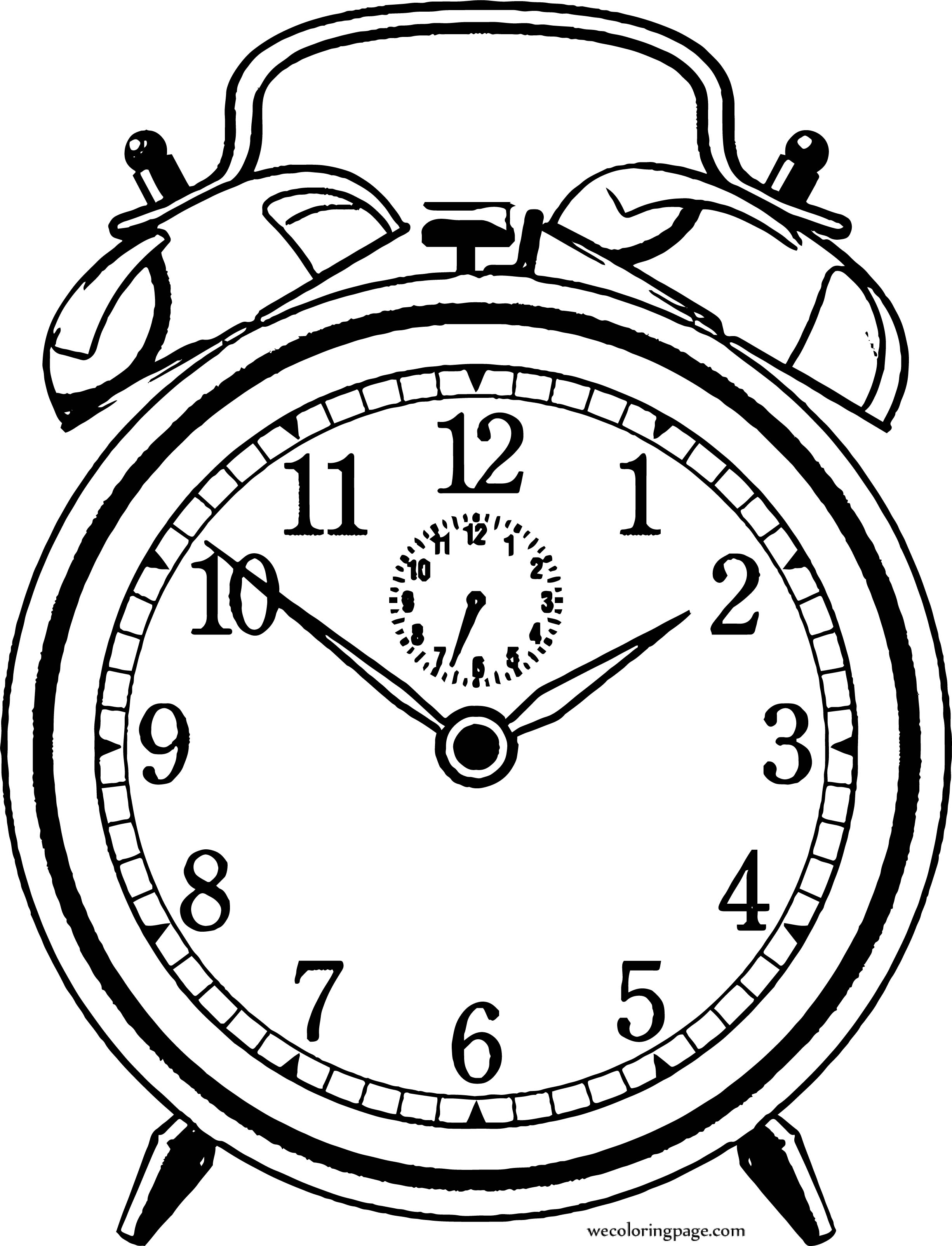 2451x3207 Free Old Clock Alarm Coloring