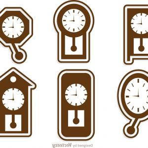 300x300 Old Clock Drawing Colored Outline Vector Geekchicpro