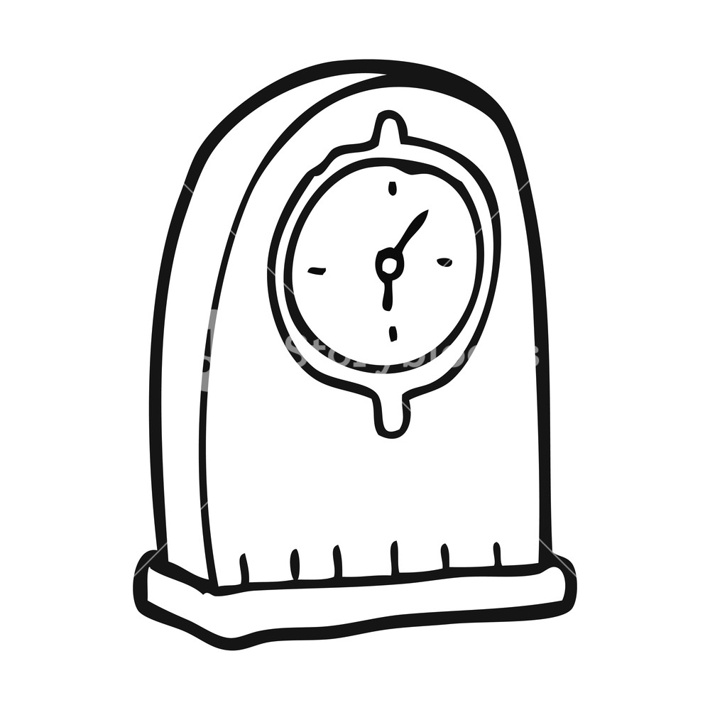 1000x1000 Freehand Drawn Black And White Cartoon Old Clock Royalty Free