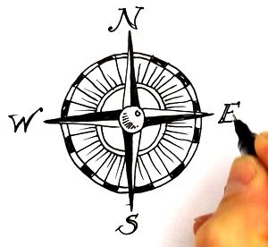 300x276 Compass And Map Clipart