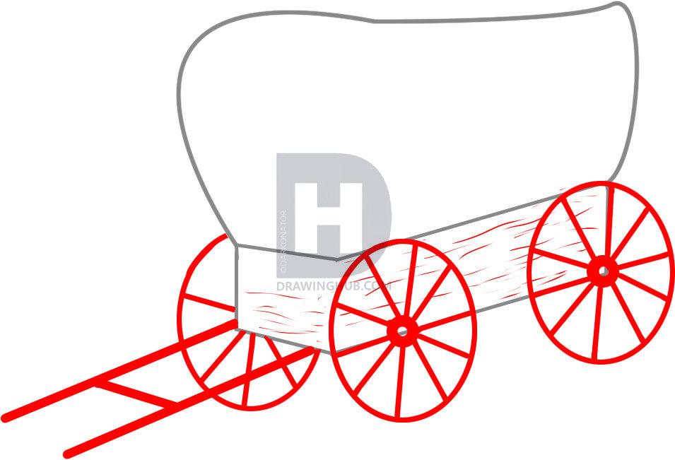 955x651 How To Draw A Wagon, Step