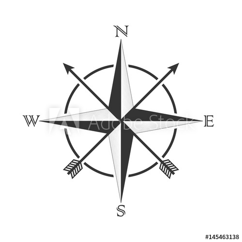 500x500 Vector Compass With Wind Rose And Arrows In The Old Style Design