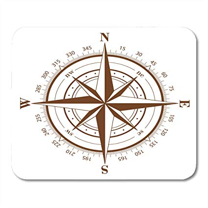 425x425 Emvency Mouse Pads Nautical Brown Compass Rose White