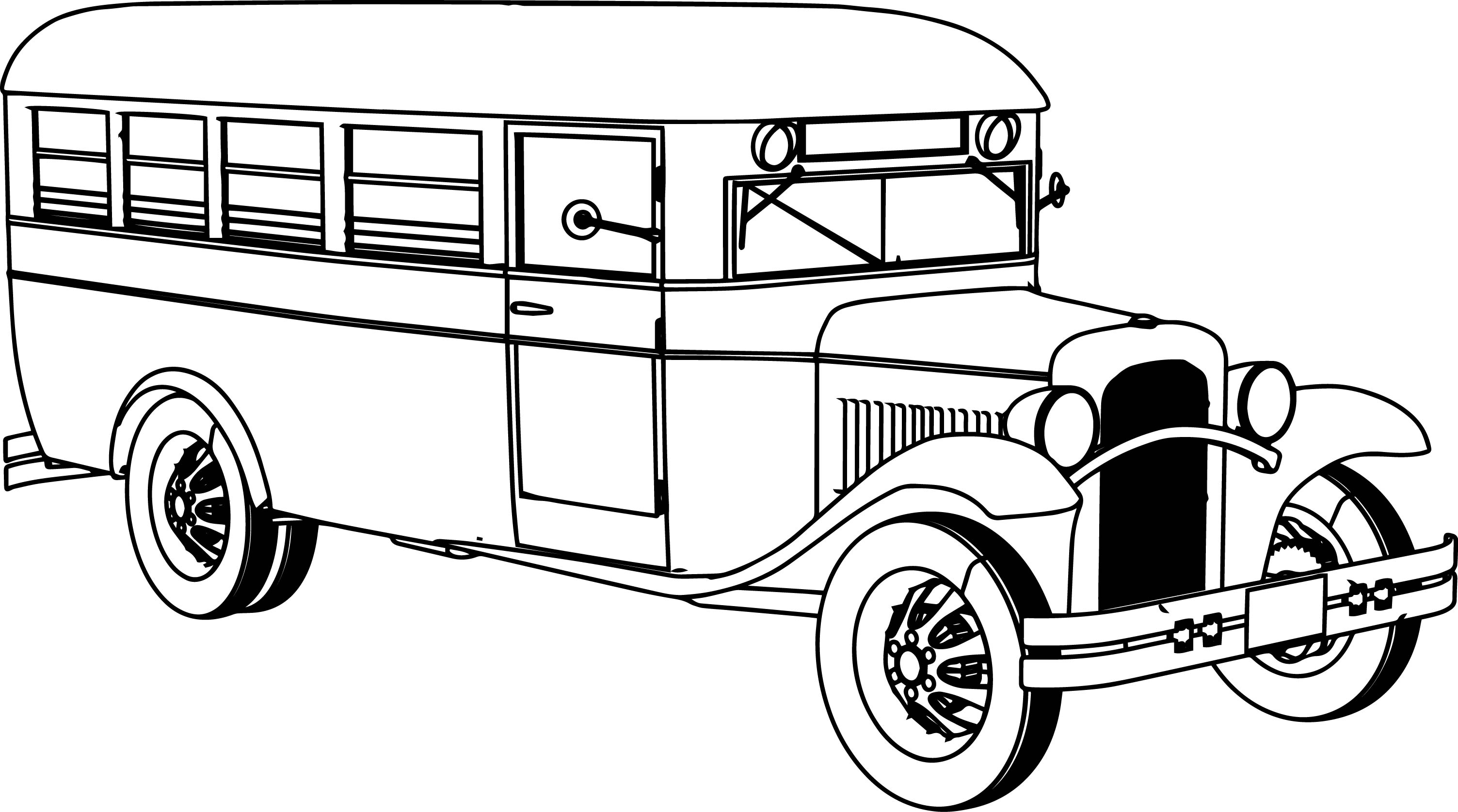 3007x1676 Bus Drawing Old Fashioned For Free Download