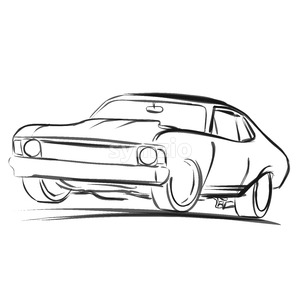300x300 Muscle Car Sketch, Vector Drawing Vector Illustration