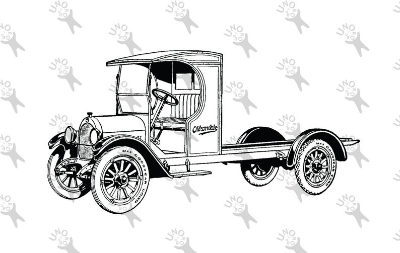 794x503 Vintage Truck Old Car Oldsmobile Drawing Digital Printable Etsy