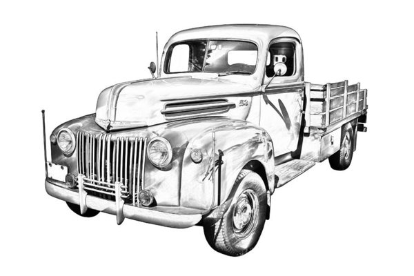 600x400 Classic Car Drawings Art