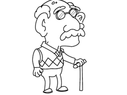 440x330 old man coloring pages, free clipart old man birthday
